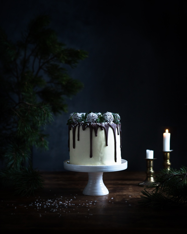 Festive coconut cake with chocolate drippings
