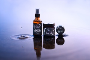 Skincare product photography on water
