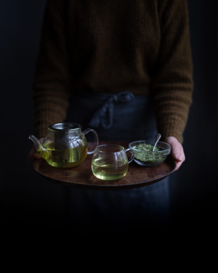 Birch leaf tea served