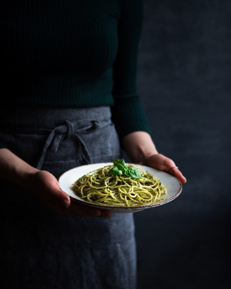 Nettle pesto prepared with pasta